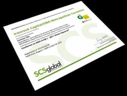 Green Squared certificate Metropolitan Ceramics